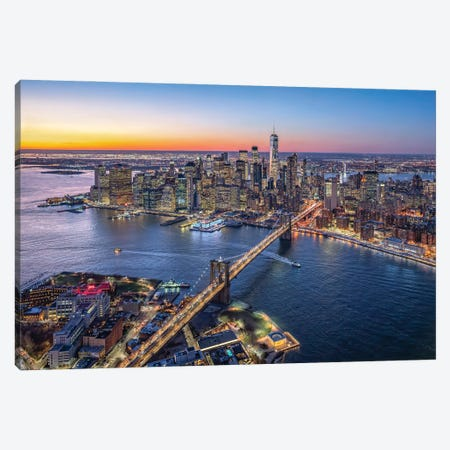Aerial view of Lower Manhattan and Brooklyn Bridge, New York City, USA Canvas Print #JNB611} by Jan Becke Canvas Artwork