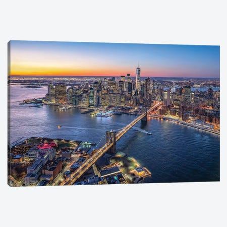 Aerial view of Lower Manhattan and Brooklyn Bridge, New York City, USA Canvas Print #JNB611} by Jan Becke Canvas Artwork