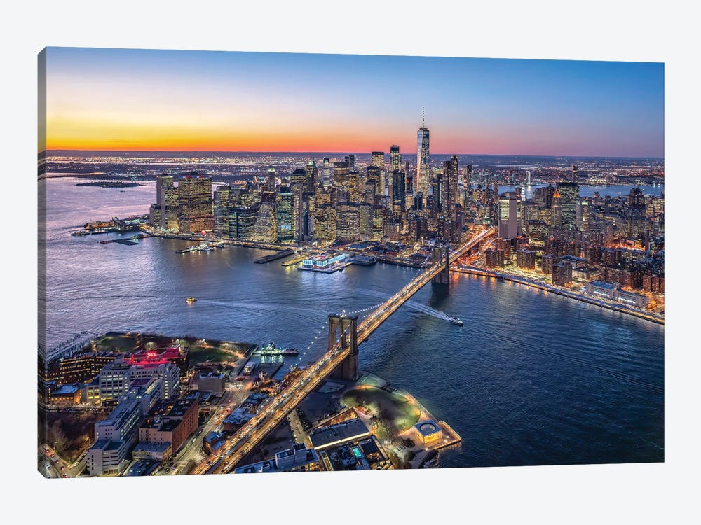 Aerial view of Lower Manhattan and Brooklyn Bridge, New York City, USA by Jan Becke 1-piece Canvas Print