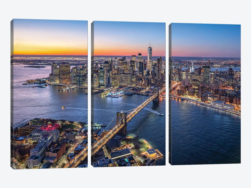 Aerial view of Lower Manhattan and Brooklyn Bridge, New York City, USA by Jan Becke 3-piece Art Print