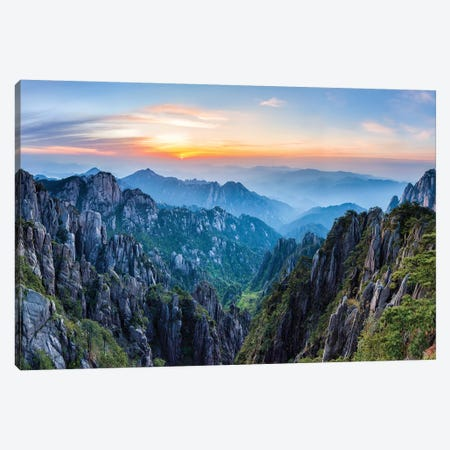 Huangshan Mountains At Sunrise 3-Piece Canvas #JNB61} by Jan Becke Canvas Print