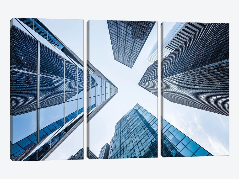 Office buildings near Wall Street, New York City, USA by Jan Becke 3-piece Canvas Art Print