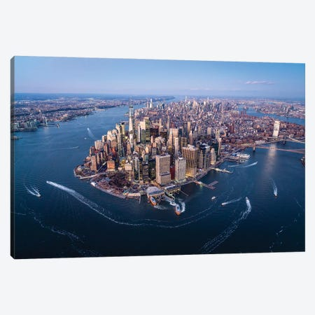 Aerial view of the Lower Manhattan skyline, New York City Canvas Print #JNB621} by Jan Becke Canvas Print