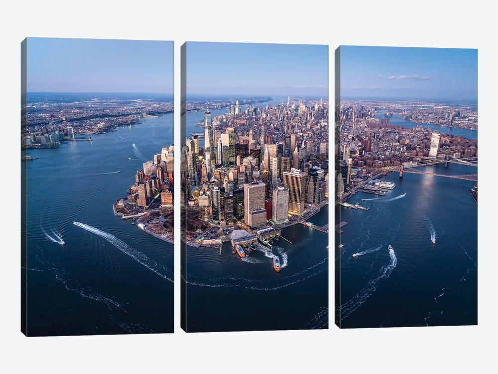 Aerial view of the Lower Manhattan skyline, New York City by Jan Becke 3-piece Canvas Wall Art