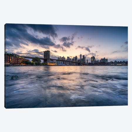 Brooklyn Bridge and Manhattan Skyline along the East River at sunset Canvas Print #JNB626} by Jan Becke Canvas Artwork