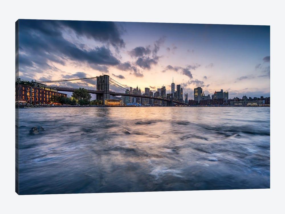 Brooklyn Bridge and Manhattan Skyline along the East River at sunset by Jan Becke 1-piece Canvas Art Print