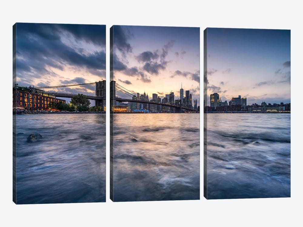 Brooklyn Bridge and Manhattan Skyline along the East River at sunset by Jan Becke 3-piece Canvas Print
