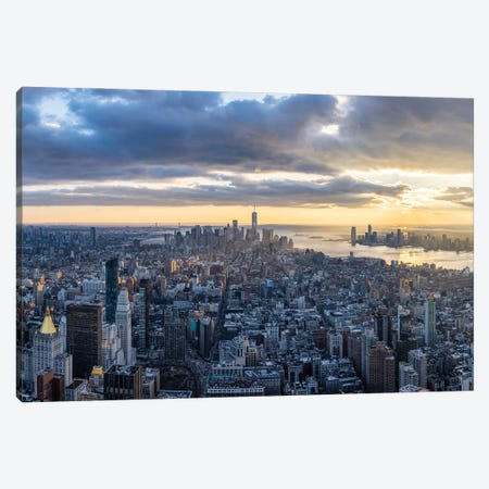 Lower Manhattan skyline at sunset Canvas Print #JNB634} by Jan Becke Canvas Art Print