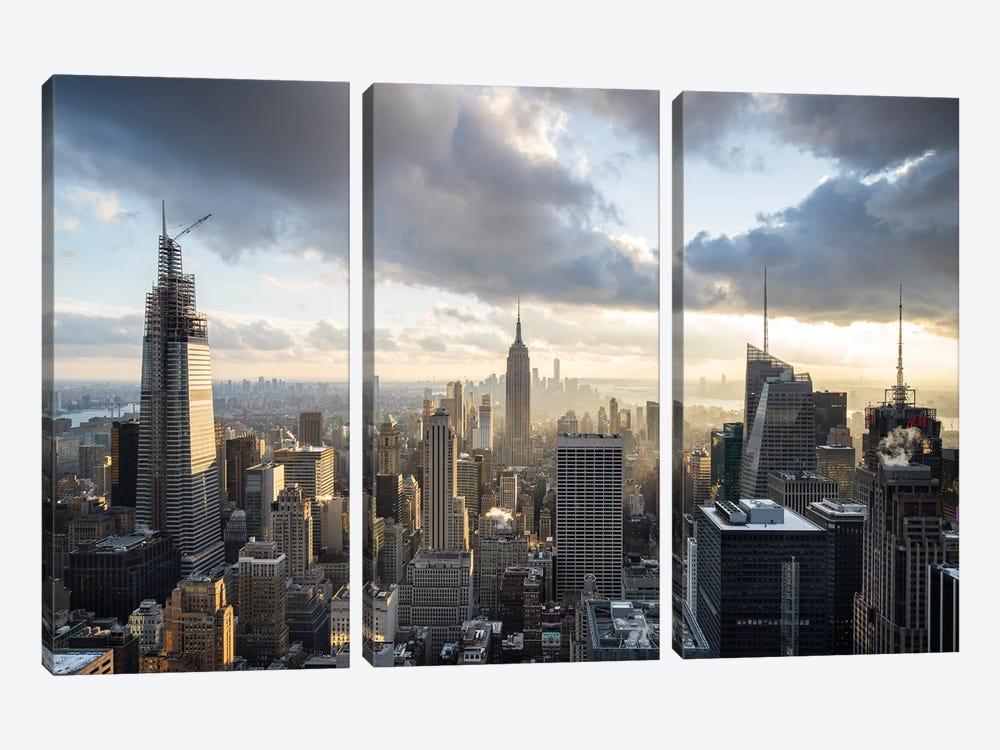 Aerial view of the Manhattan skyline by Jan Becke 3-piece Canvas Print