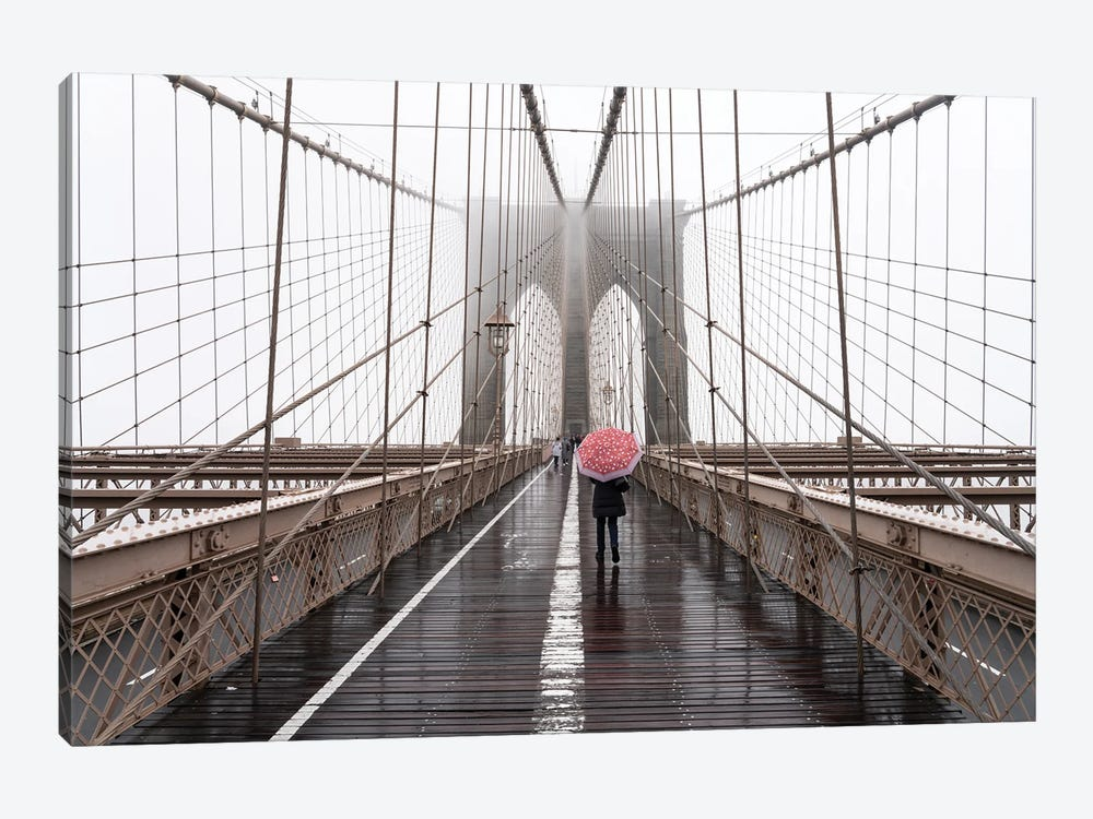 Brooklyn Bridge winter fog by Jan Becke 1-piece Art Print