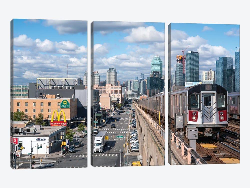7 train from Manhattan to Queens by Jan Becke 3-piece Canvas Wall Art