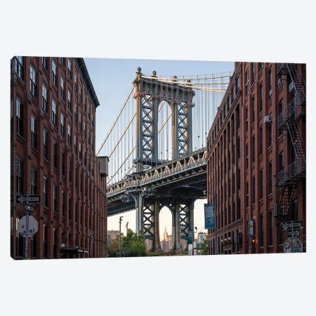 Manhattan Bridge View in Dumbo, Brooklyn, New York City Canvas Print #JNB646} by Jan Becke Canvas Wall Art