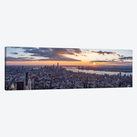 Lower Manhattan skyline panorama at sunset Canvas Print #JNB652} by Jan Becke Canvas Wall Art