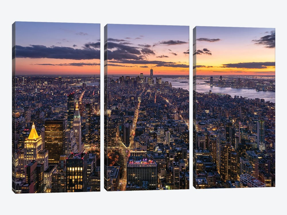 Aerial view of Lower Manhattan by Jan Becke 3-piece Canvas Art Print