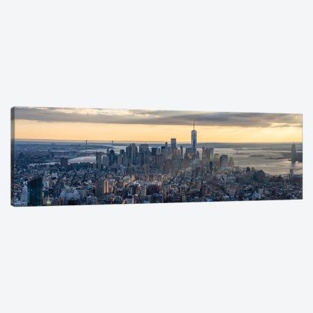 Lower Manhattan skyline panorama at sunset, New York City, USA Canvas Print #JNB659} by Jan Becke Canvas Wall Art