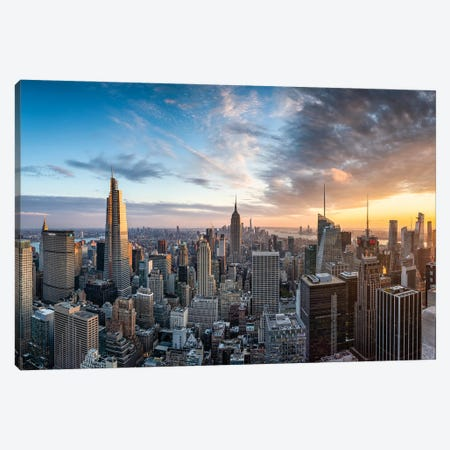 Dramatic sunset over the Manhattan skyline, New York City, USA Canvas Print #JNB661} by Jan Becke Canvas Print