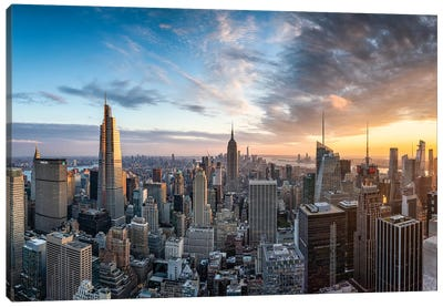 Dramatic sunset over the Manhattan skyline, New York City, USA Canvas Art Print
