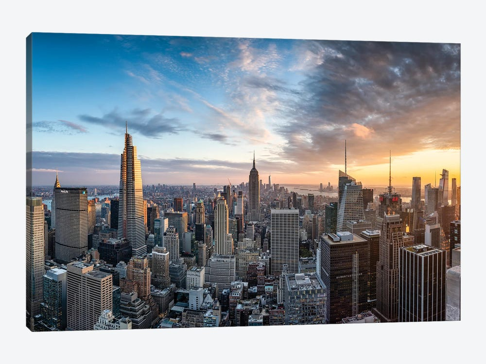 Dramatic sunset over the Manhattan skyline, New York City, USA by Jan Becke 1-piece Canvas Art