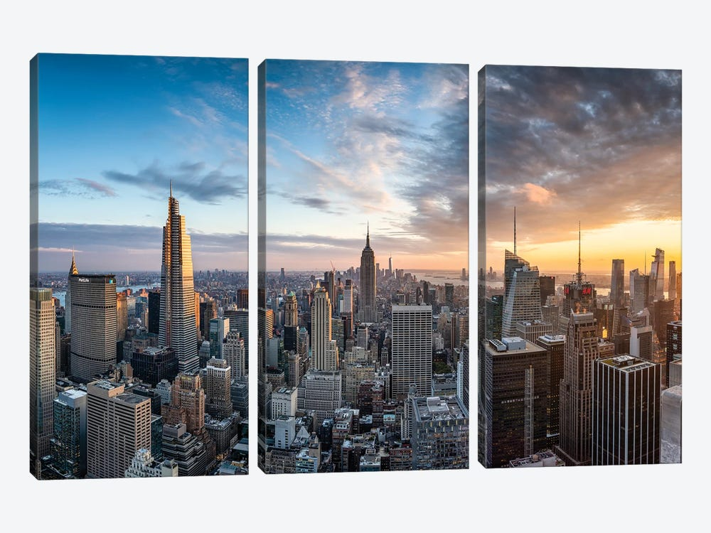 Dramatic sunset over the Manhattan skyline, New York City, USA by Jan Becke 3-piece Canvas Wall Art