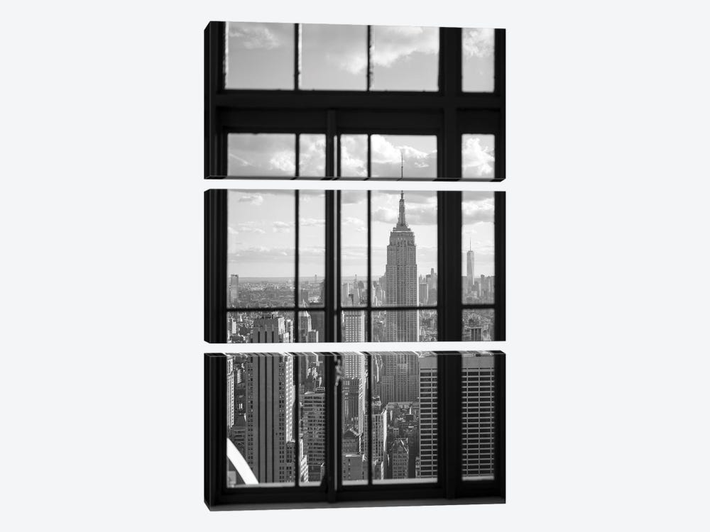 Empire State Building in black and white by Jan Becke 3-piece Canvas Print