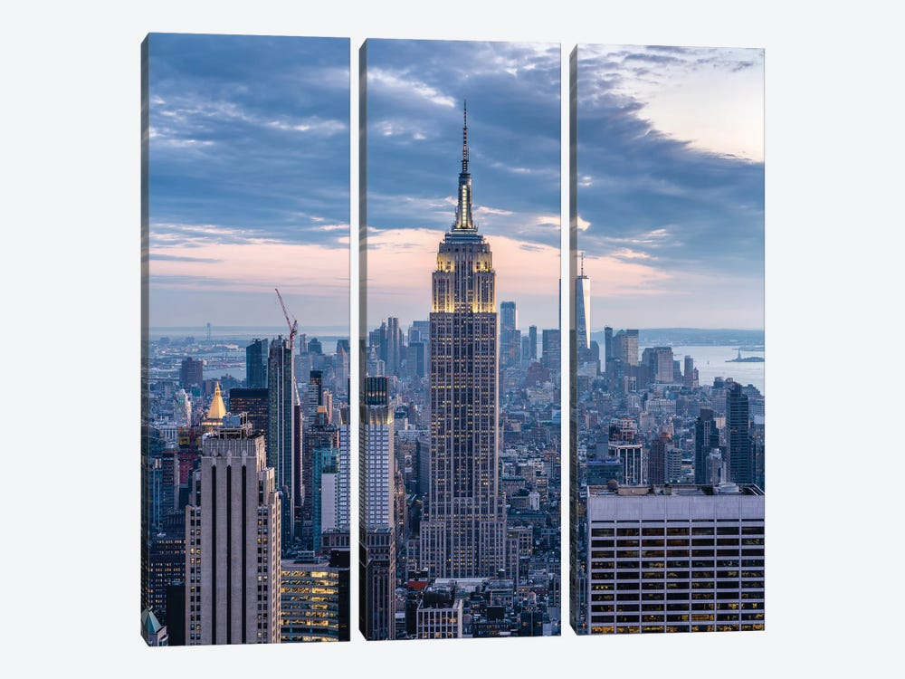 Empire State Building at dusk by Jan Becke 3-piece Canvas Artwork