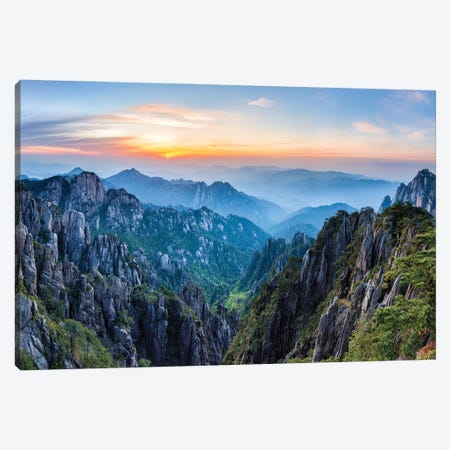 Sunrise At The Huangshan Mountain, Anhui Province, China Canvas Print #JNB689} by Jan Becke Art Print