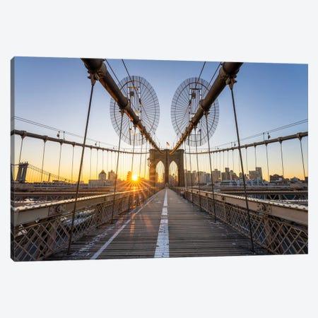 Brooklyn Bridge At Sunrise, New York City, USA Canvas Print #JNB691} by Jan Becke Canvas Artwork