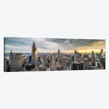 Panoramic View Of Midtown Manhattan At Sunset Canvas Print #JNB695} by Jan Becke Canvas Art Print