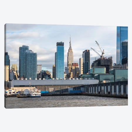 Empire State Building Along The Hudson River Canvas Print #JNB703} by Jan Becke Canvas Wall Art