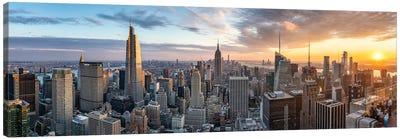 New York City Sunset Panorama Canvas Art Print