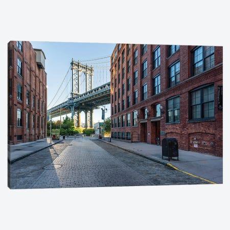 Manhattan Bridge Seen From Dumbo, Brooklyn, New York City Canvas Print #JNB720} by Jan Becke Canvas Wall Art