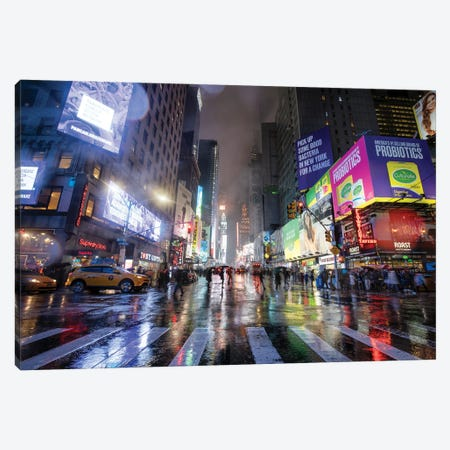 Times Square On A Rainy Day, New York City, USA Canvas Print #JNB731} by Jan Becke Canvas Art Print