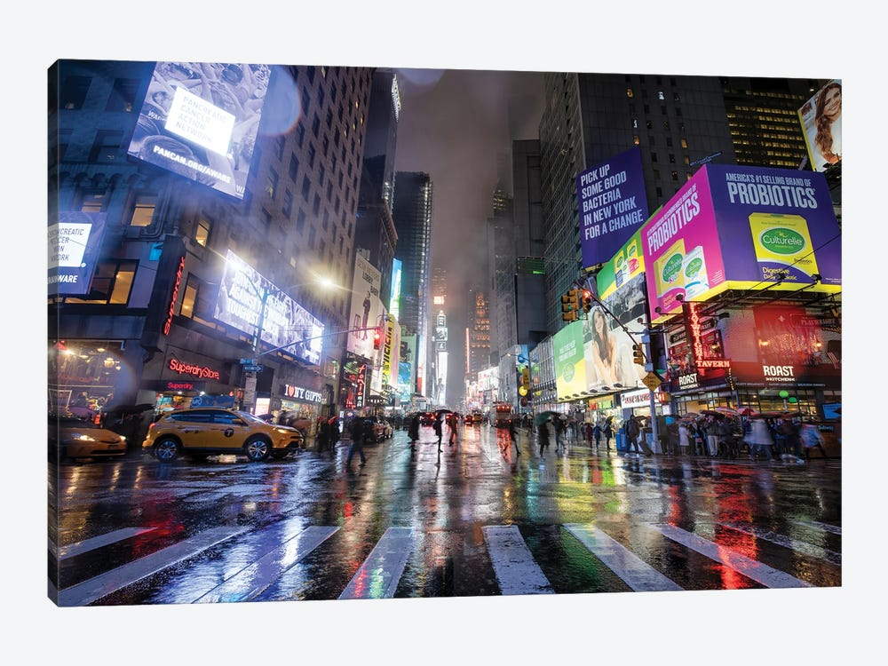 Times Square On A Rainy Day, New York City, USA by Jan Becke 1-piece Canvas Wall Art