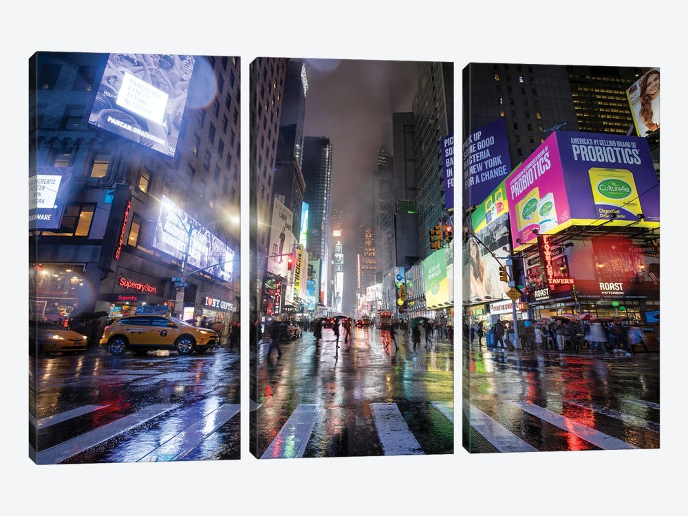 Times Square On A Rainy Day, New York City, USA by Jan Becke 3-piece Canvas Wall Art