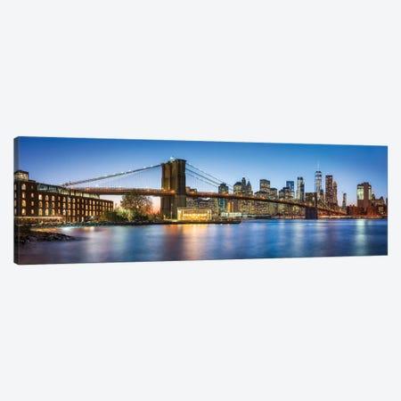 Brooklyn Bridge Panorama At Dusk Canvas Print #JNB736} by Jan Becke Canvas Wall Art