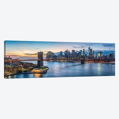 Brooklyn Bridge And Manhattan Skyline Panorama Canvas Print #JNB741} by Jan Becke Canvas Wall Art