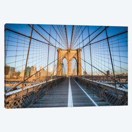 Brooklyn Bridge At Sunrise, New York City Canvas Print #JNB742} by Jan Becke Canvas Artwork