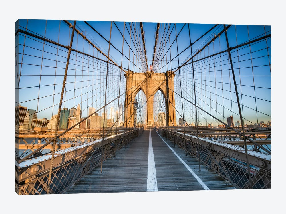 Brooklyn Bridge At Sunrise, New York City by Jan Becke 1-piece Canvas Artwork