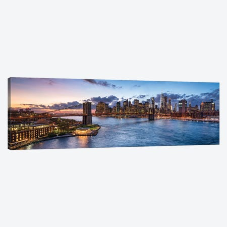 New York Skyline Panorama With Brooklyn Bridge Canvas Print #JNB743} by Jan Becke Canvas Wall Art