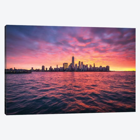 Manhattan Skyline At Sunrise Canvas Print #JNB74} by Jan Becke Canvas Print
