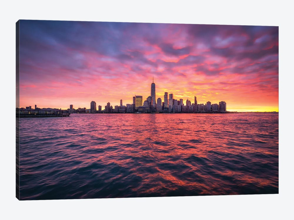 Manhattan Skyline At Sunrise by Jan Becke 1-piece Canvas Wall Art
