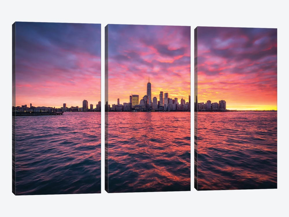 Manhattan Skyline At Sunrise by Jan Becke 3-piece Canvas Wall Art