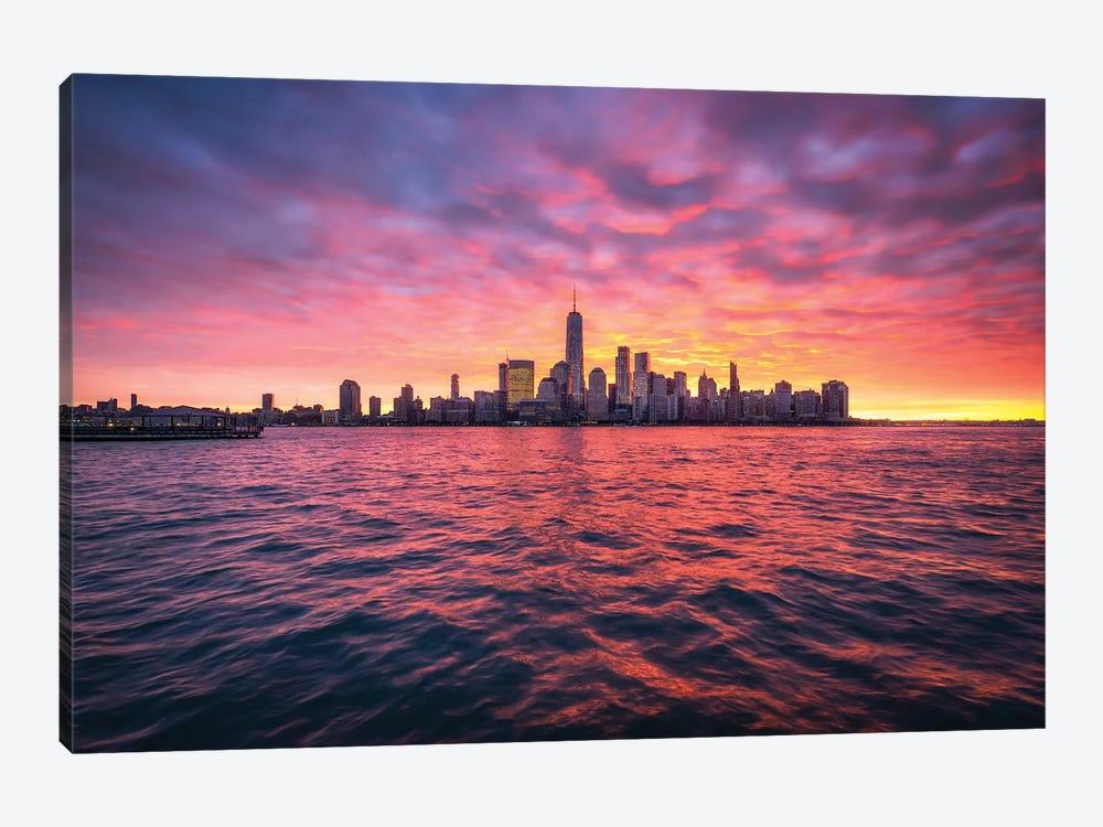 Manhattan Skyline At Sunrise by Jan Becke 1-piece Canvas Wall Art