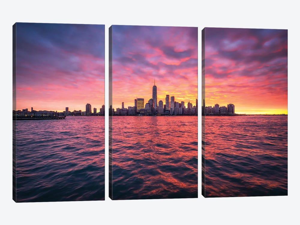 Manhattan Skyline At Sunrise by Jan Becke 3-piece Canvas Wall Art