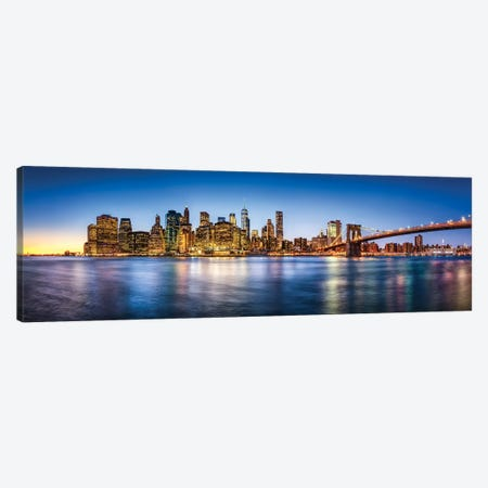 Manhattan Skyline Panorama With Brooklyn Bridge Canvas Print #JNB751} by Jan Becke Canvas Art Print