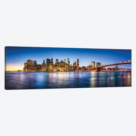 Manhattan Skyline Panorama With Brooklyn Bridge Canvas Print #JNB751} by Jan Becke Canvas Art Print