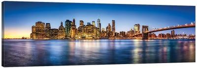 Manhattan Skyline Panorama With Brooklyn Bridge Canvas Art Print