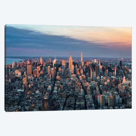 Manhattan Skyline Sunset-Bearbeitet Canvas Print #JNB75} by Jan Becke Canvas Art Print