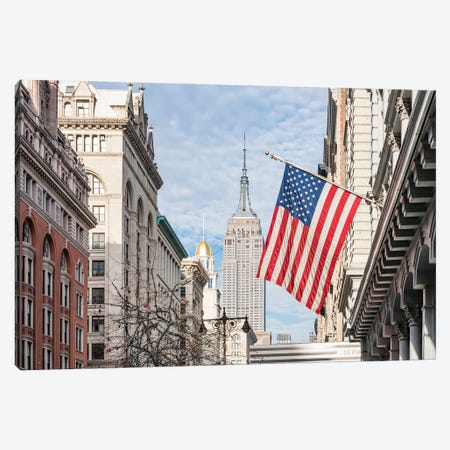 Empire State Building And American Flag, Fifth Avenue, New York City Canvas Print #JNB769} by Jan Becke Canvas Artwork