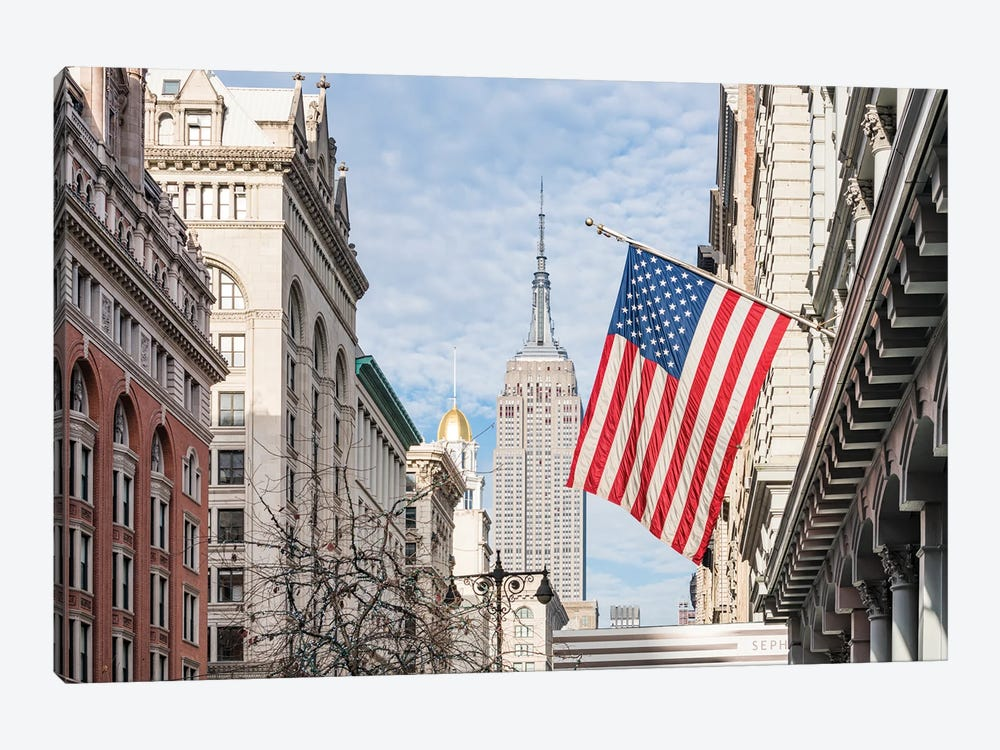 Empire State Building And American Flag, Fifth Avenue, New York City by Jan Becke 1-piece Canvas Art Print